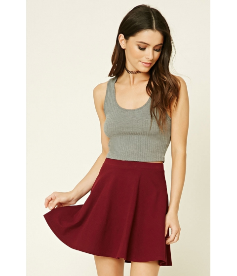 Imbracaminte Femei Forever21 Stretch-Knit Flared Skirt Burgundy