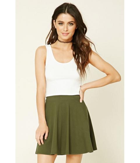 Imbracaminte Femei Forever21 Stretch-Knit Flared Skirt Dark olive