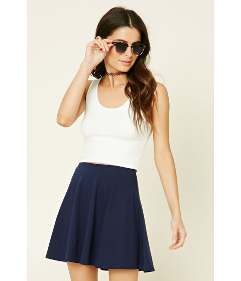 Imbracaminte Femei Forever21 Stretch-Knit Flared Skirt Navy