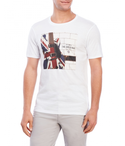 Imbracaminte Barbati Ben Sherman Crew Neck Electric Union Jack Tee Bright White