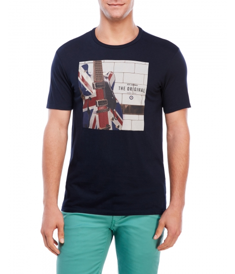 Imbracaminte Barbati Ben Sherman Crew Neck Electric Union Jack Tee Navy Blazer