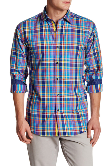 Imbracaminte Barbati Bugatchi Multicolor Plaid Shaped Fit Shirt NAVY