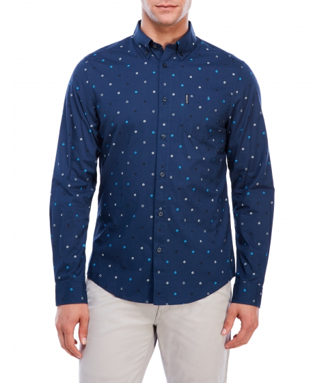 Imbracaminte Barbati Ben Sherman Printed Regular Fit Sport Shirt Blue