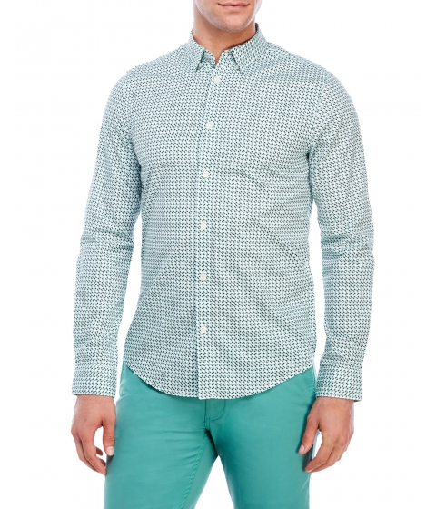 Imbracaminte Barbati Ben Sherman Soho Slim Fit Printed Sport Shirt Jade Green