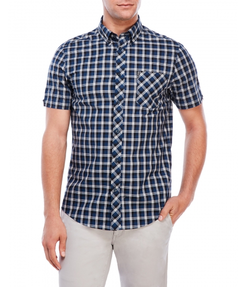 Imbracaminte Barbati Ben Sherman Short Sleeve Check Button-Down Shirt Petrol Blue