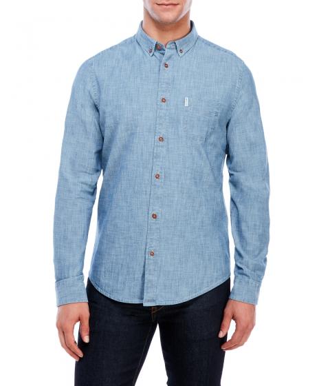 Imbracaminte Barbati Ben Sherman Chambray Regular Fit Button-Down Shirt Blue