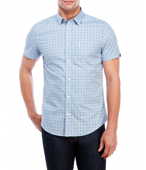 Imbracaminte Barbati Ben Sherman Square Print Short Sleeve Slim Fit Shirt Sky Blue