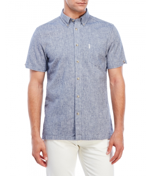 Imbracaminte Barbati Ben Sherman Chambray Short Sleeve Shirt Blue