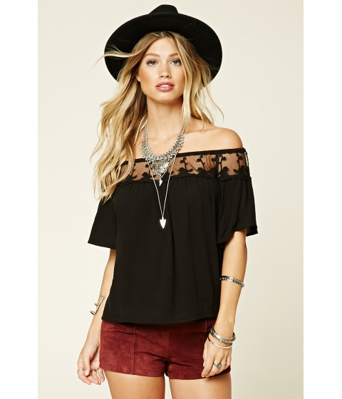Imbracaminte Femei Forever21 Embroidered Off-The-Shoulder Top Black