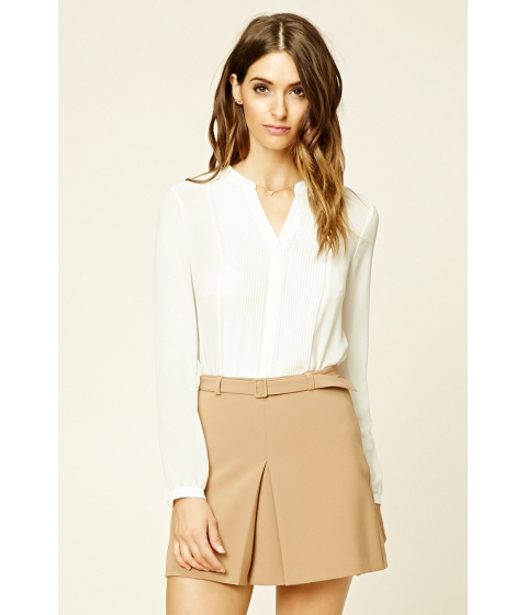 Imbracaminte Femei Forever21 Semi-Sheer Pleated Shirt Cream