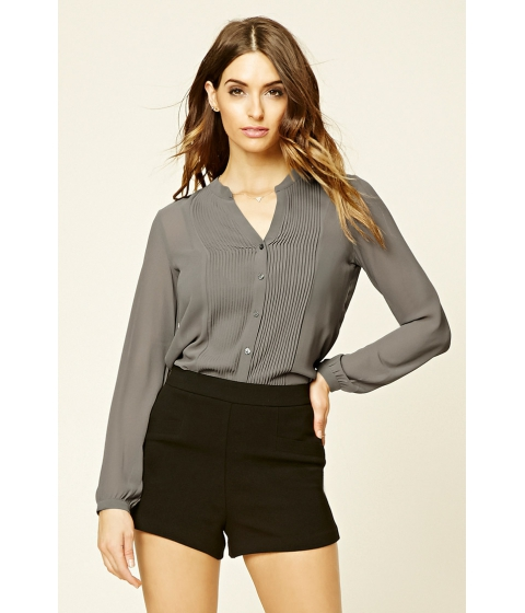 Imbracaminte Femei Forever21 Semi-Sheer Pleated Shirt Grey