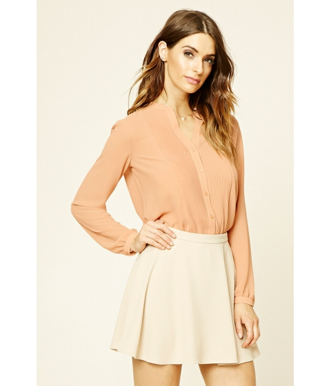 Imbracaminte Femei Forever21 Semi-Sheer Pleated Shirt Apricot