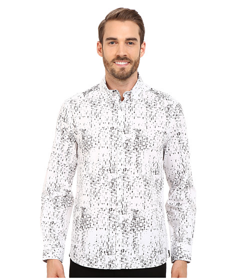 Imbracaminte Barbati Kenneth Cole Abstract Printed Button-Front Shirt Ash Grey Combo