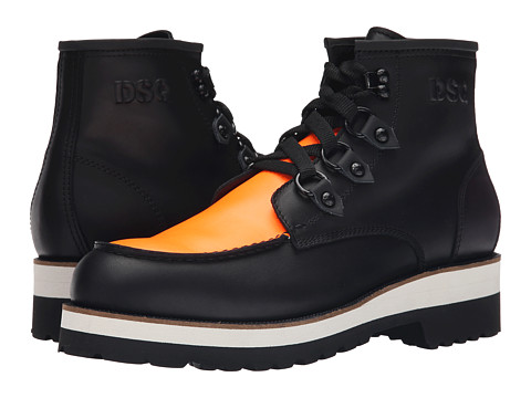 Incaltaminte Barbati DSQUARED2 Construction Calf Leather Ankle Boot BlackOrange