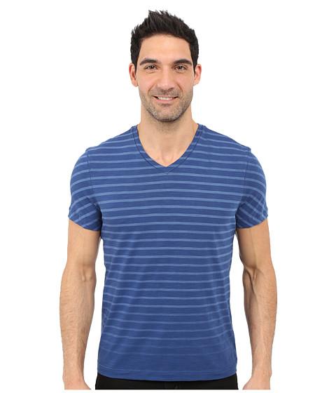 Imbracaminte Barbati Kenneth Cole Stripe V-Neck Tee Smokey Blue