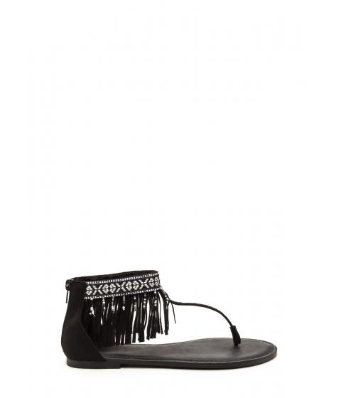 Incaltaminte Femei CheapChic Southwest Explorer Fringed Sandals Black