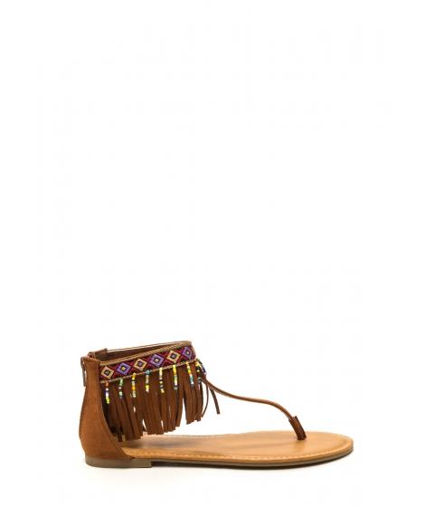 Incaltaminte Femei CheapChic Southwest Explorer Fringed Sandals Chestnut
