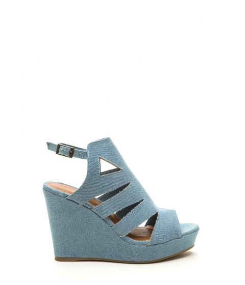 Incaltaminte Femei CheapChic Day Glow Denim Cut-out Wedges Blue
