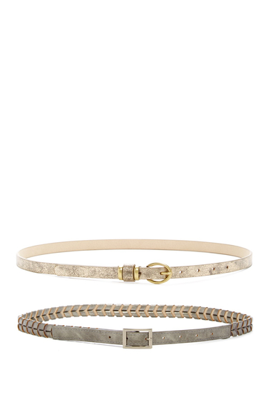 Accesorii Femei Steve Madden Assorted Braided Metallic Belt - Set of 2 PEW-GLD