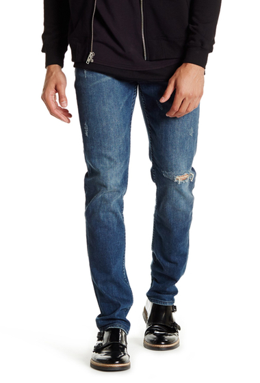 Imbracaminte Barbati BLK Denim Distressed Jean FROST BLUE