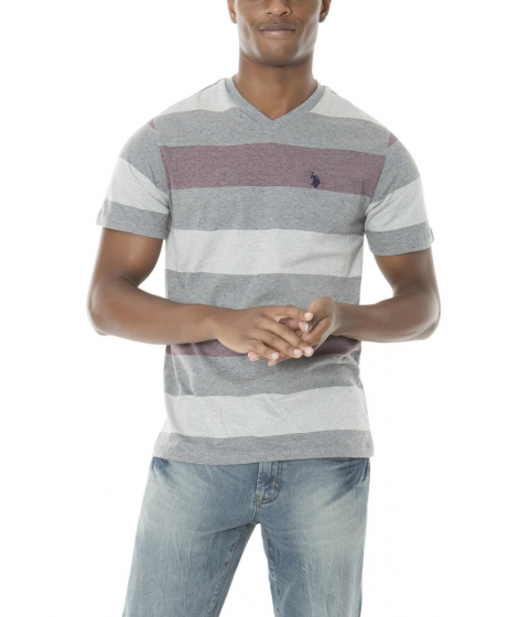 Imbracaminte Barbati US Polo Assn HEATHER STRIPE V-NECK TEE EAST BURGUNDY