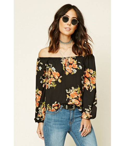 Imbracaminte Femei Forever21 Contemporary Floral Top Blackcoral
