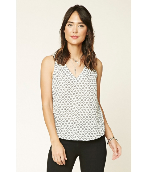 Imbracaminte Femei Forever21 Abstract Print Crepe Blouse Whiteblack