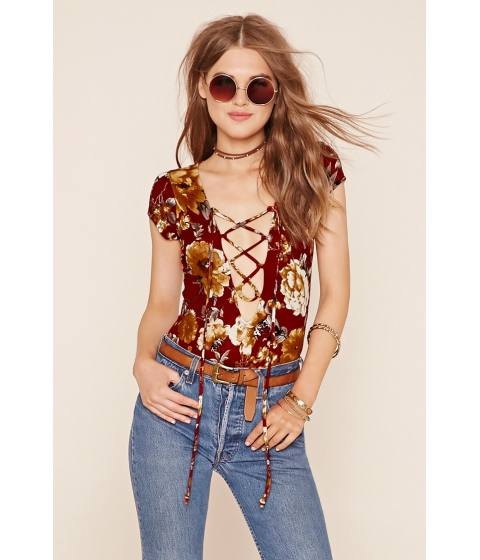 Imbracaminte Femei Forever21 Lace-Up Bodysuit Rust