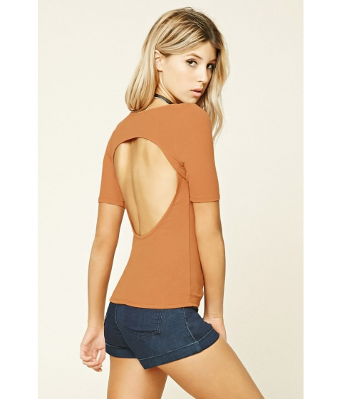 Imbracaminte Femei Forever21 Ribbed Knit Back Cutout Top Ginger