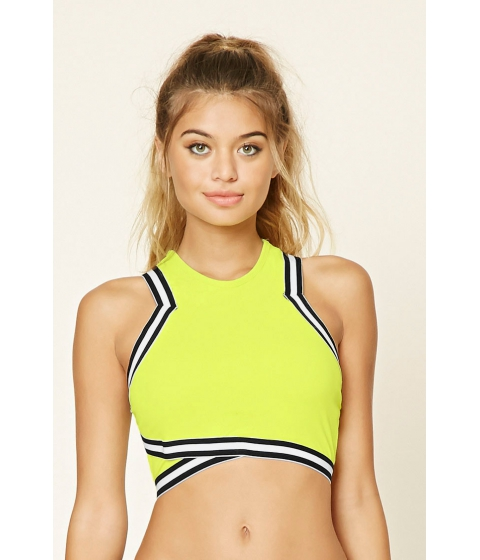 Imbracaminte Femei Forever21 Stripe Trim Padded Top Limeblack