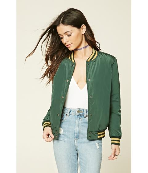 Imbracaminte Femei Forever21 Striped Varsity Jacket Greenmustard