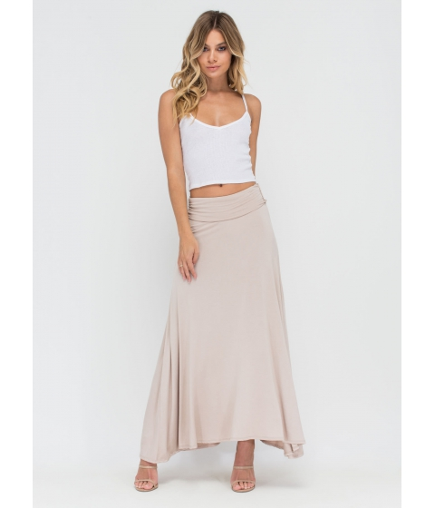 Imbracaminte Femei CheapChic Simple As Can Be Ruched Maxi Skirt Taupe