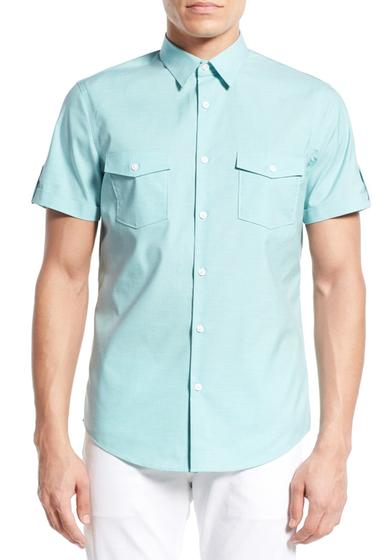 Imbracaminte Barbati CALIBRATE Trim Fit Sport Shirt BLUE RESORT HEATHER