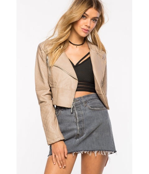 Imbracaminte Femei CheapChic Pu Jacket With Diamond Quilting TaupeKhaki