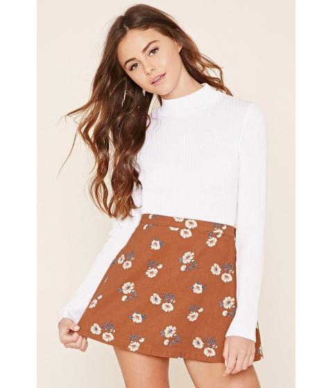 Imbracaminte Femei Forever21 Floral Denim Mini Skirt Rustcream