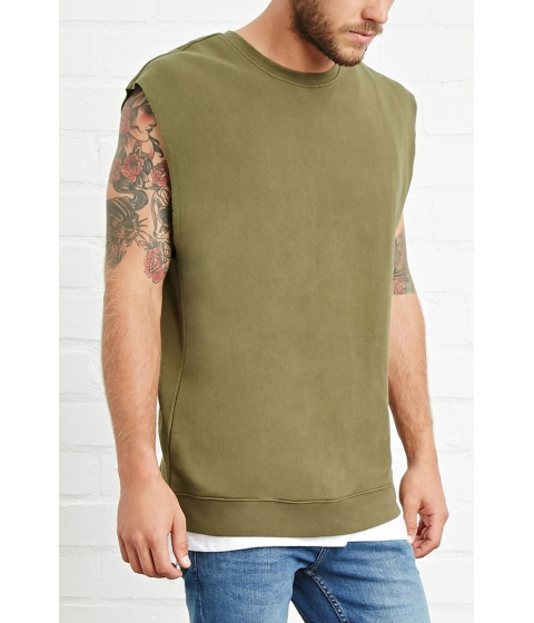 Imbracaminte Barbati Forever21 Raw-Cut Pullover Top Olive
