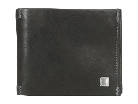 Genti Barbati Steve Madden Soft Pebble Leather Passcase Wallet Black