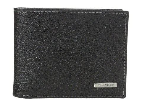 Genti Barbati Steve Madden Buff Crunch Leather Passcase Wallet Black