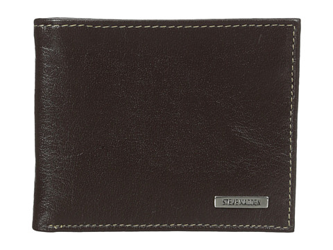 Genti Barbati Steve Madden Buff Crunch Leather Passcase Wallet Brown