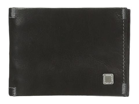 Genti Barbati Steve Madden Soft Pebble Leather Slimfold Wallet Black