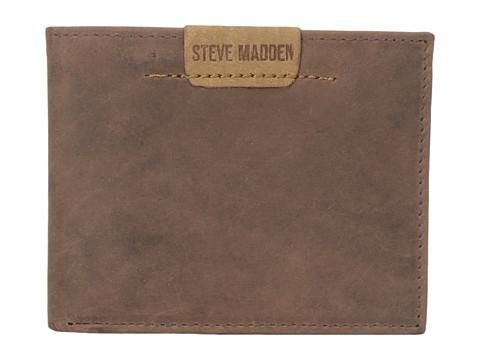 Genti Barbati Steve Madden Dakota Leather Passcase Wallet Brown