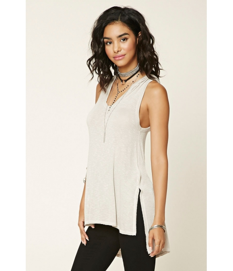 Imbracaminte Femei Forever21 Ribbed Knit Hoodie Top Taupe