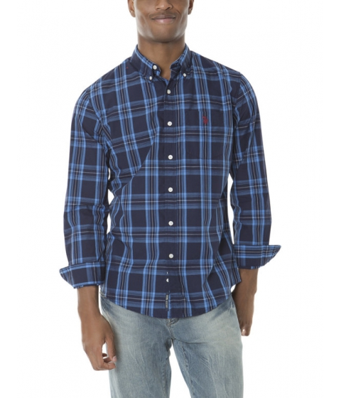 Imbracaminte Barbati US Polo Assn CLASSIC FIT LONG SLEEVE PLAID POPLIN Classic Navy