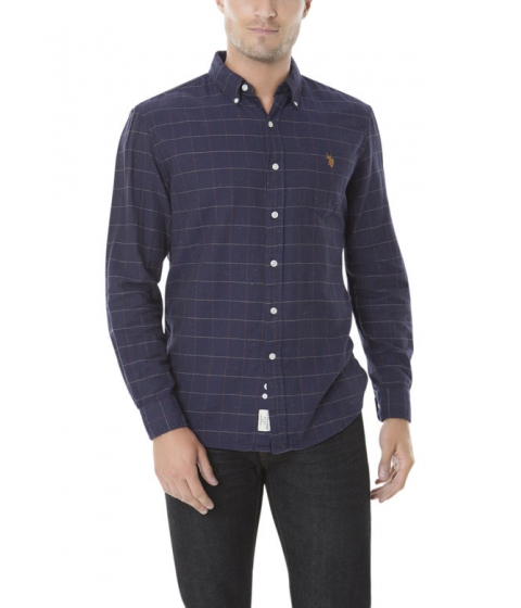Imbracaminte Barbati US Polo Assn CLASSIC FIT LONG SLEEVE CHECK SHIRT Classic Navy
