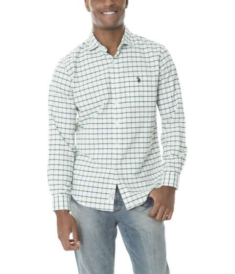 Imbracaminte Barbati US Polo Assn CLASSIC FIT LONG SLEEVE PLAID OXFORD ESSEX GREEN