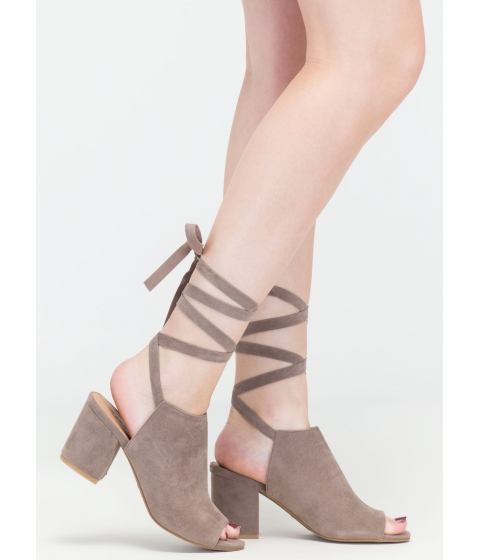 Incaltaminte Femei CheapChic Best In The Wrap Game Tie-up Block Heels Taupe