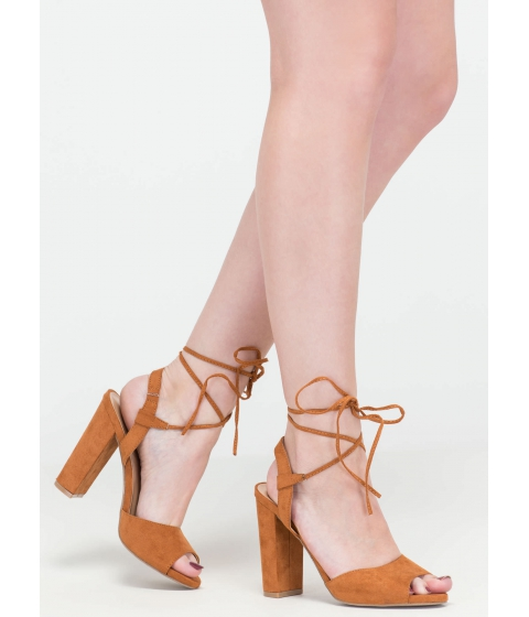 Incaltaminte Femei CheapChic Peep In The Night Chunky Lace-up Heels Whisky