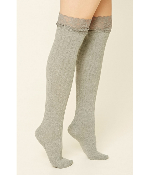 Imbracaminte Femei Forever21 Over-The-Knee Lace Socks Grey
