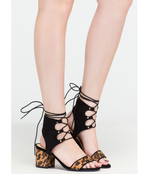 Incaltaminte Femei CheapChic Trading Laces Leopard Block Heels Leopardblack