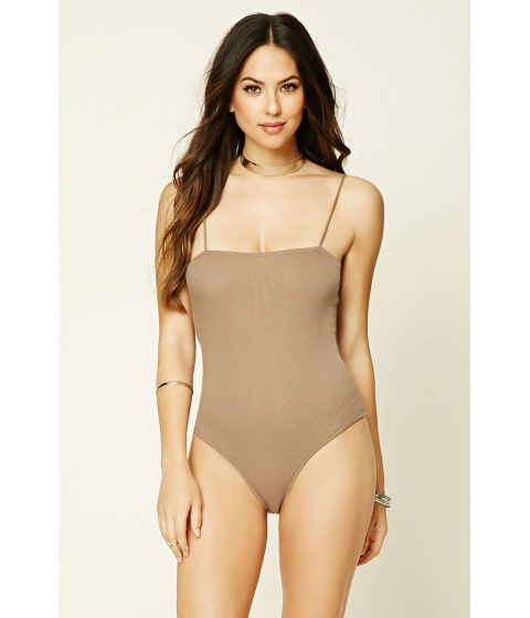 Imbracaminte Femei Forever21 Ribbed Knit Bodysuit Cappuccino